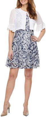 Perceptions Short Bell Sleeve Lace Puff Print Jacket Dress