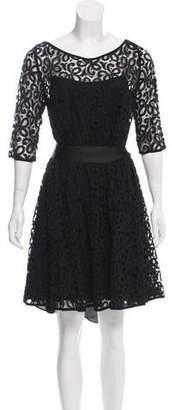 Marchesa Lace Long Sleeve Dress