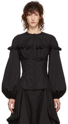 Marques Almeida Black Frill Yoke Shirt