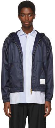 Thom Browne Navy Mesh Hooded Jacket