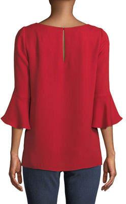 Lafayette 148 New York Rozene Flare-Sleeve Silk Blouse