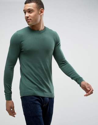 Asos Muscle Fit Cotton Sweater In Dark Green