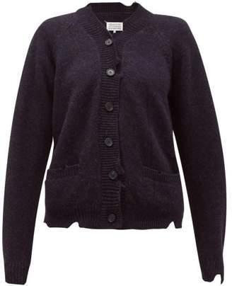 Maison Margiela Distressed Wool Cardigan - Womens - Navy