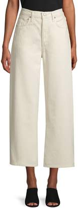 A Gold E Agolde High-Rise Cotton Wide-Leg Cropped Pants