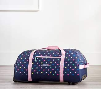 Pottery Barn Kids Mackenzie Navy Pink Multi Hearts Carry All Travel Bag
