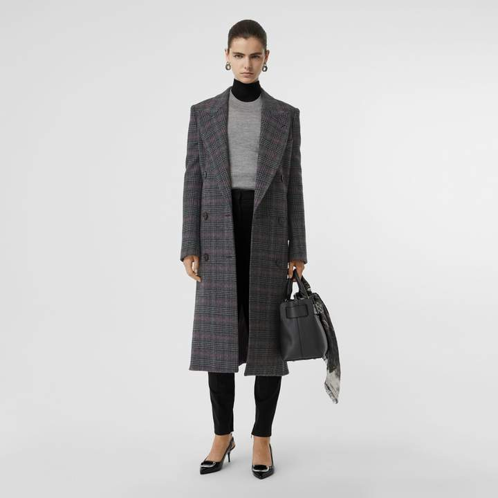 Prince of Wales Check Wool Tailored Coat