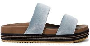 Brunello Cucinelli Bead-embellished Velvet Platform Slides