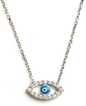 Lord & Taylor Sterling Silver Evil Eye Pendant Necklace