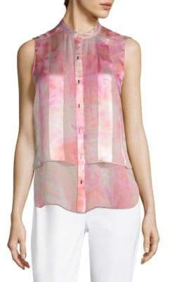 Elie Tahari Eve Printed Silk Blouse