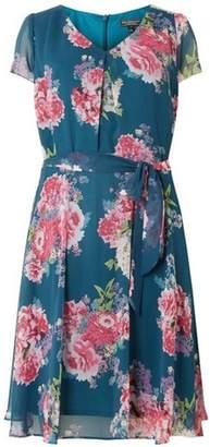 Dorothy Perkins Womens **Billie & Blossom Curve Teal Floral Chiffon Dress