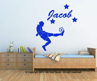 H&M Wall Decal Personalised Name with Football Player Wall Sticker