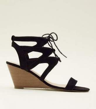 956df5e73adb New Look Black Suedette Ghillie Lace Up Wedges