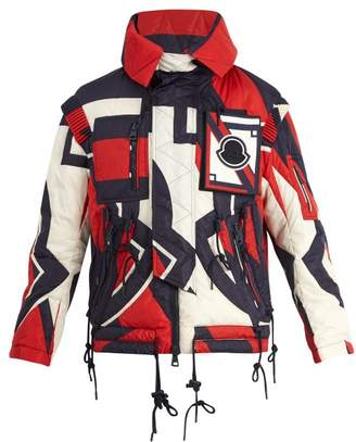 Moncler Abstract Print Hooded Quilted Down Jacket - Mens - Red Multi