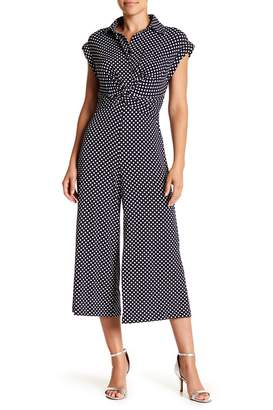 Taylor Polka Dot Collared Shirt Jumpsuit