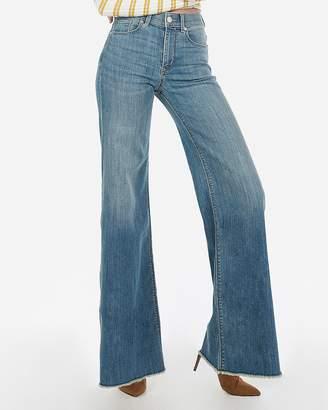 Express High Waisted Medium Wash Stretch Wide Leg Jeans