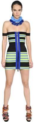 DSQUARED2 Striped Elastic Bandage Bodycon Dress