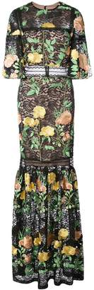 Nicole Miller embroidered rose lace gown