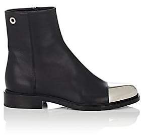 Proenza Schouler Women's Cap-Toe Leather Ankle Boots - Black