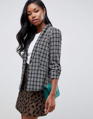 Miss Selfridge blazer with ruched sleeves in check