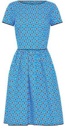 Oscar de la Renta Pleated Floral-Print Stretch Cotton-Poplin Dress