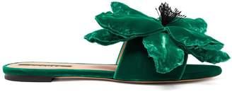 Rochas Flower-appliqué velvet slides