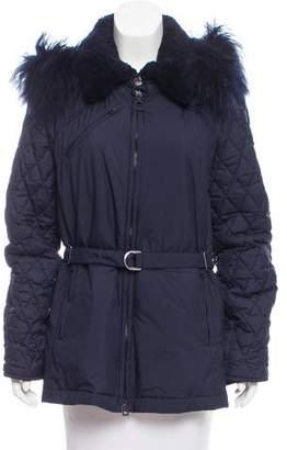 Chloé Belted Shearling-Trimmed Coat