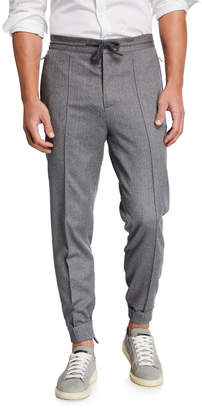 Brunello Cucinelli Men's Crete Virgin Wool Trousers with Drawstring