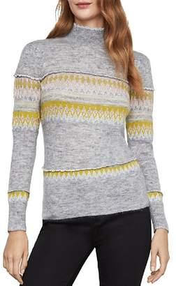 BCBGMAXAZRIA Mixed Intarsia Mock-Neck Sweater