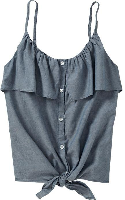 Women's Ruffled Button-Front Tops