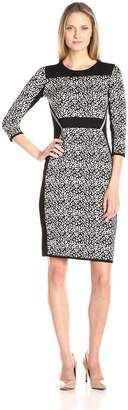 ee1691b5ff Gabby Skye Women s Sheath Sweater Dress with Animal Print Color Blocking