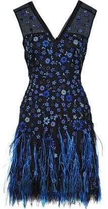 Elie Tahari Jayla Embellished Silk-Organza Mini Dress