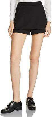 Maje Ipam Double-Layer Mini Shorts