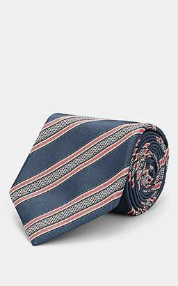 Brioni Men's Multi-Striped Silk Twill Necktie - Gray