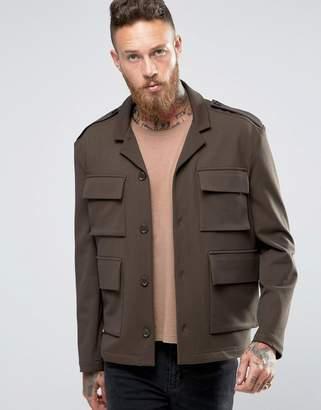 Asos DESIGN Slim Fit Jacket In Khaki With Utility Pocket Detail
