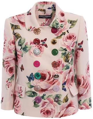 Dolce & Gabbana Floral Double Breasted Blazer