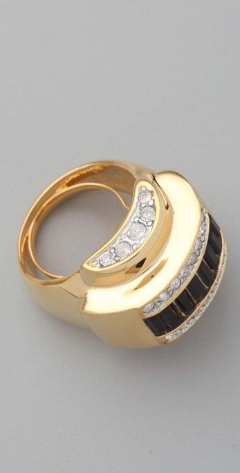 Kenneth Jay Lane Jet Deco Ring