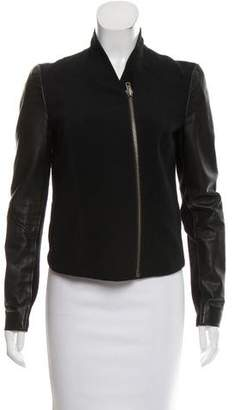 Helmut Lang Leather Sleeve Jacket