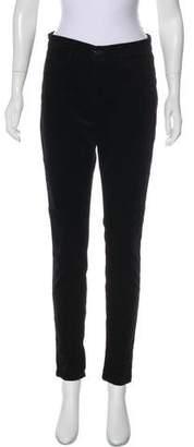J Brand Velour Mid-Rise Skinny Pants