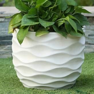 Wrought Studio Cowie Wavy Design MgO Fiberclay Pot Planter