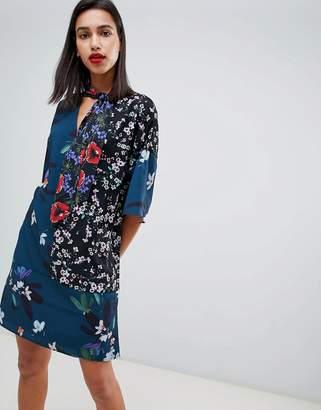 French Connection Celia Patchwork Floral Print Tie Neck Dress