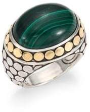 John Hardy Batu Dot Malachite, 18K Yellow Gold & Sterling Silver Dome Ring