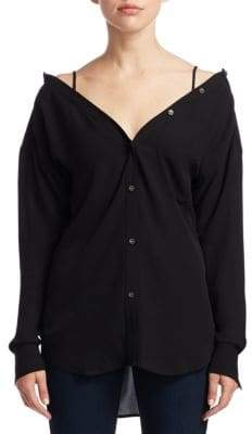 Theory Tamalee Classic Silk Button-Up Shirt
