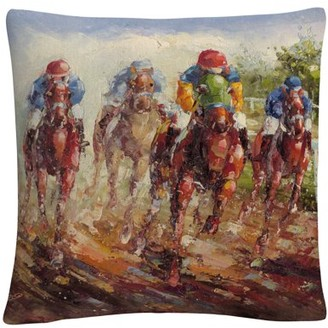 Trademark Art Rio 'Kentucky Derby' 16 X 16 Decorative Throw Pillow