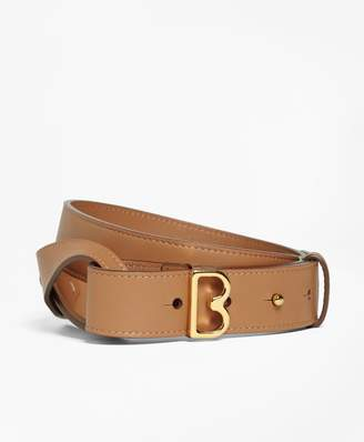 "Brooks Brothers Samantha Leather Twist ""B"" Buckle Belt"