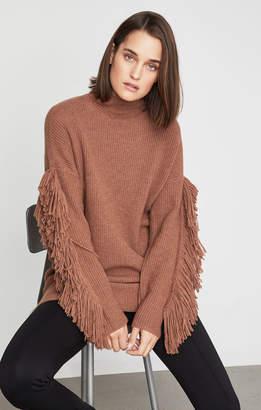 BCBGMAXAZRIA Fringe Turtleneck Tunic Sweater