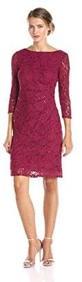 Marina Women's 3/4 Sleeve Floral Lace Dress with Side Pleating $24.28 thestylecure.com