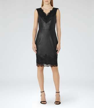 Reiss ETTY LEATHER AND LACE DRESS Black