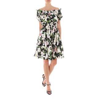 Dolce & Gabbana Floral Printed Off-Shoulder Flared Dress