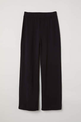 H&M Wide-cut Jersey Pants - Gray - Women