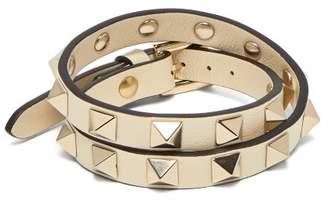 Valentino Rockstud Wraparound Leather Bracelet - Womens - Ivory